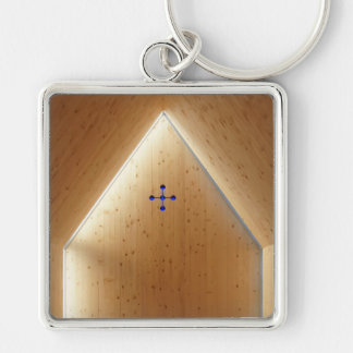 Chapel Light Silver-Colored Square Keychain