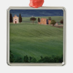 Chapel San Quirico d'Orcia, Tuscany, Italy Square Metal Christmas Ornament