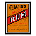 Chapins Pure Old Rum Label Poster