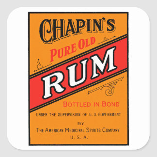 Chapins Pure Old Rum Label Square Sticker