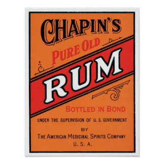 Chapins Pure Old Rum Poster