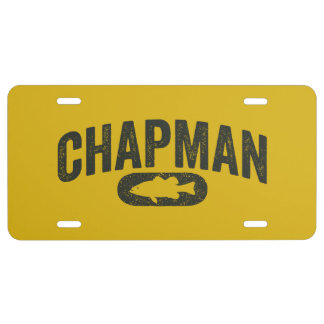Chapman Bass Fishing Logo - Vintage Mustard Yellow License Plate