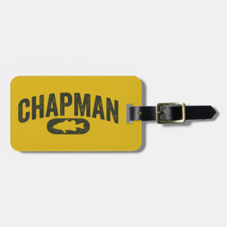 Chapman Bass Fishing Logo - Vintage Mustard Yellow Luggage Tag