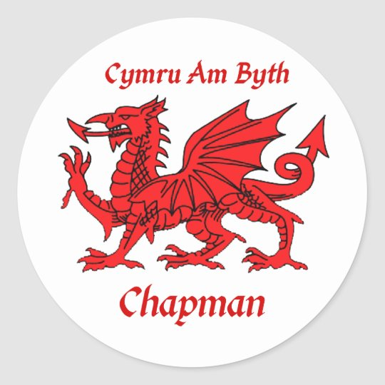 Chapman Welsh Dragon Classic Round Sticker