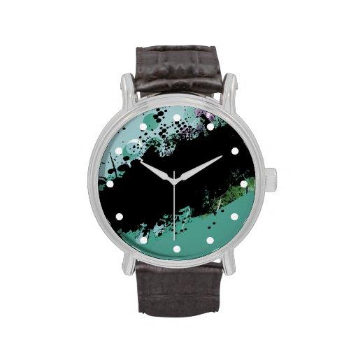 Chapoteo abstracto del color del Grunge (aguamarin Relojes De Mano