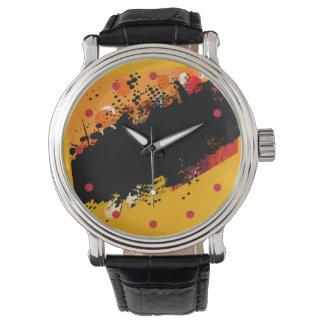 Chapoteo abstracto del color del Grunge (amarillo) Relojes De Mano