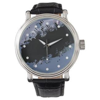 Chapoteo abstracto del color del Grunge (azul del Relojes De Mano