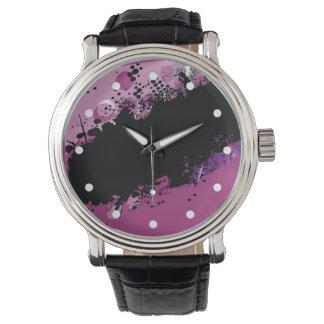 Chapoteo abstracto del color del Grunge (púrpura Reloj De Mano