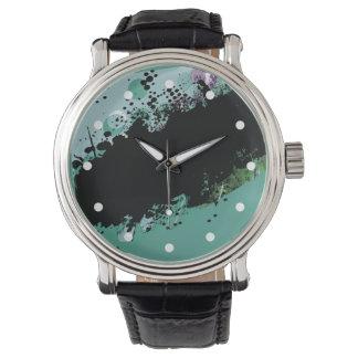 Chapoteo abstracto del color del Grunge Relojes De Pulsera