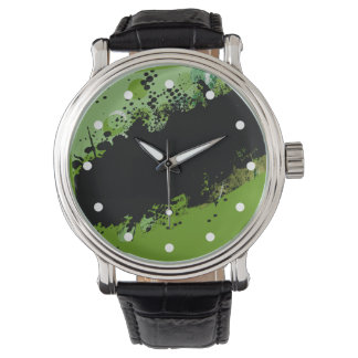 Chapoteo abstracto del color del Grunge (verde Reloj