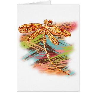 Chapoteo anaranjado de la libélula tarjeta de felicitación