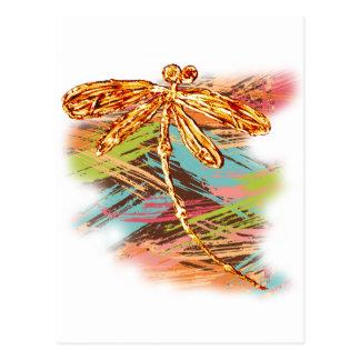 Chapoteo anaranjado de la libélula tarjeta postal