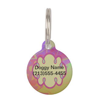 Chapoteo artsy colorido identificador para mascota