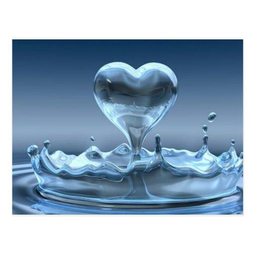 Chapoteo azul de la postal del corazón