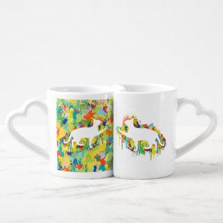 Chapoteo colorido de la pintura del gato precioso set de tazas de café