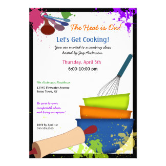 Chapoteo colorido que cocina la invitación
