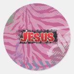 Chapoteo concreto de Jesús por los chrisitanstores Pegatinas Redondas