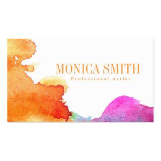 Chapoteo de la acuarela plantilla de tarjeta personal