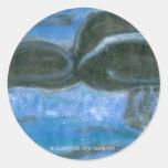 Chapoteo de la cola de la ballena etiqueta redonda