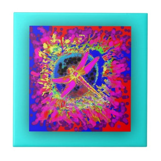 Chapoteo de la libélula por Sharles Azulejo Cuadrado Pequeño