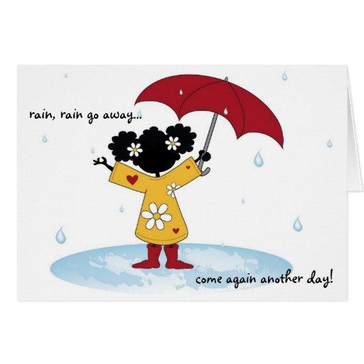 Chapoteo de la lluvia tarjeta pequeña