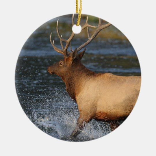 chapoteo de los alces adorno navideño redondo de cerámica