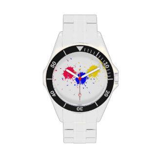 Chapoteo de los colores primarios reloj de mano