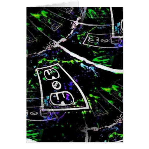 Chapoteo de neón ligero negro con el mercado por tarjeta de felicitación