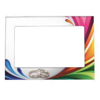 Chapoteo del arco iris y anillos de bodas - marco marcos magnéticos para fotos