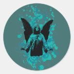 Chapoteo del aterrizaje del ángel, negro por etiqueta redonda