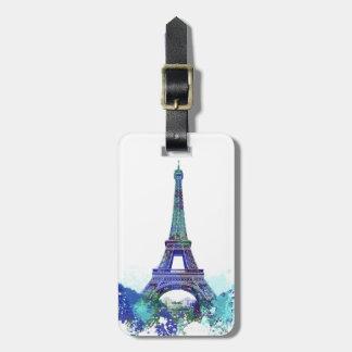 Chapoteo del color de Eiffel del viaje del La Etiquetas Para Maletas