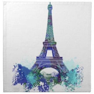 Chapoteo del color de Eiffel del viaje del La Servilleta Imprimida