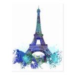 Chapoteo del color de Eiffel del viaje del La Postal