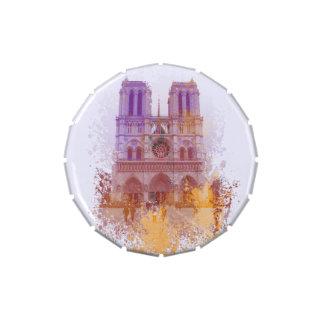 Chapoteo del color de Francia del Notre Dame de Latas De Caramelos