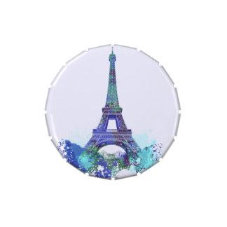 Chapoteo del color de París Francia de la torre Jarrones De Caramelos