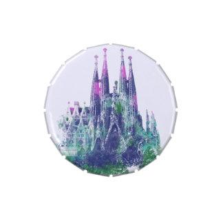 Chapoteo del color de Sagrada Familia Barcelona Latas De Caramelos