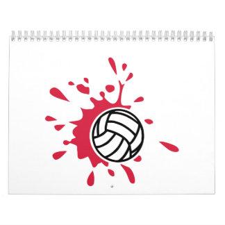 Chapoteo del color rojo del voleibol calendario