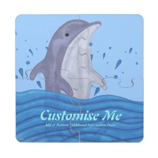 Chapoteo del delfín posavasos de puzzle