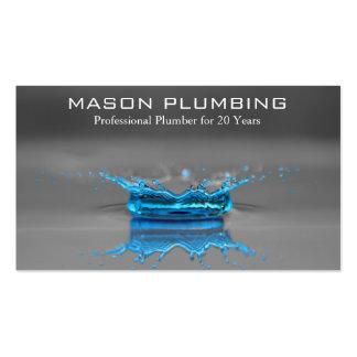 Chapoteo del descenso del agua azul - fontanería - tarjetas de visita