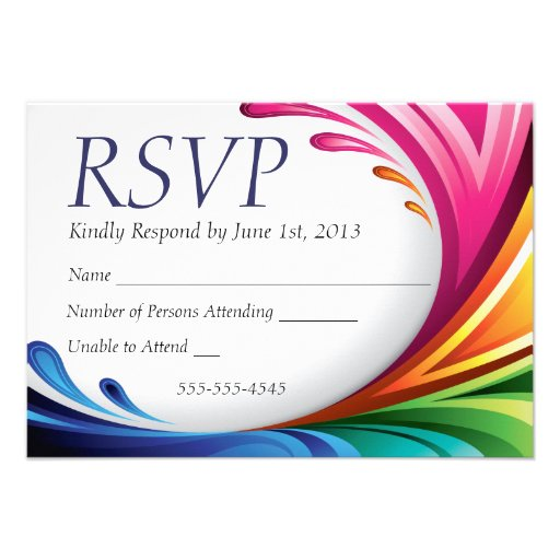 Chapoteo elegante del arco iris de RSVP que remoli Invitacion Personal