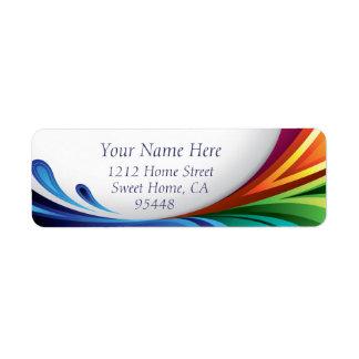 Chapoteo elegante del arco iris que remolina - etiqueta de remite