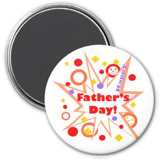 Chapoteo feliz del día de padre imán redondo 7 cm