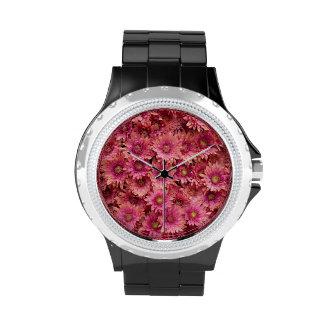 Chapoteo magenta de color salmón reloj de mano