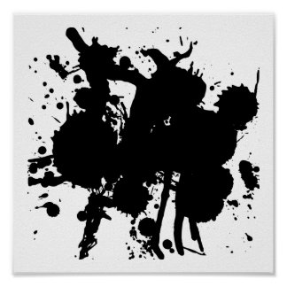 Chapoteo negro abstracto moderno póster