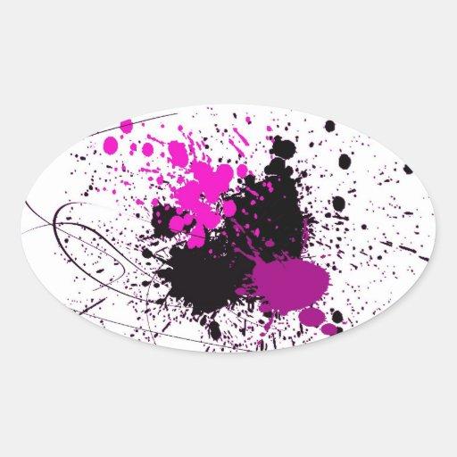 Chapoteo púrpura y negro del color pegatina ovalada