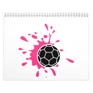 Chapoteo rosado del balonmano calendario de pared