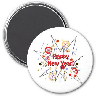 Chapoteo sonriente de la Feliz Año Nuevo Imán Redondo 7 Cm