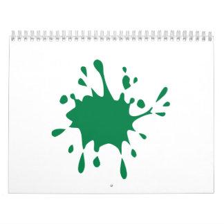 Chapoteo verde de Paintball Calendarios