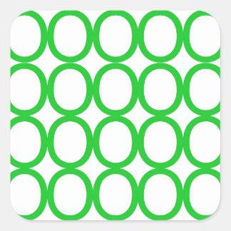 Chapoteo verde y blanco de los o pegatina cuadrada