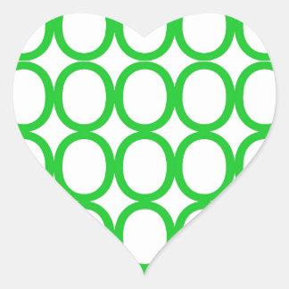 Chapoteo verde y blanco de los o pegatina en forma de corazón
